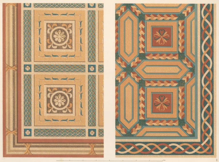 Parts of Two Pavements in Terrazzo Alla Veneziana. Specimens of Ornamental Art. Lewis Gruner.