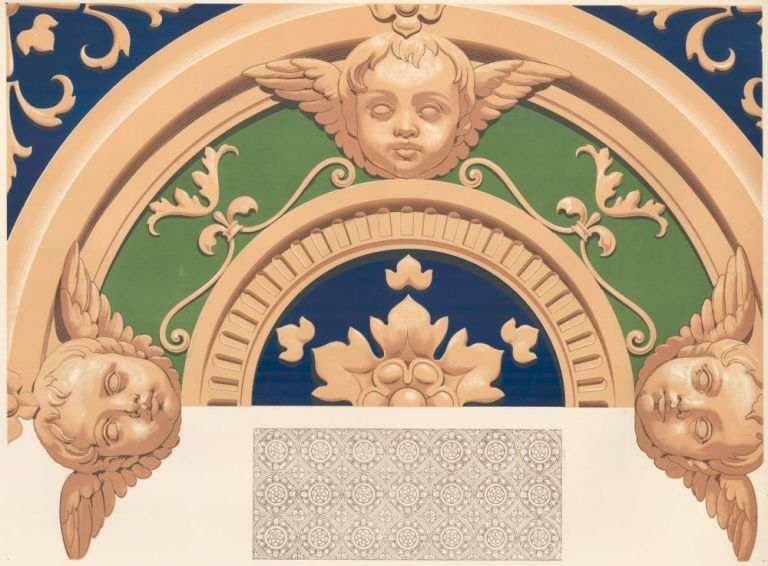 Portion of a Painted Ceiling in the Monstero Maggiore. Specimens of Ornamental Art. Lewis Gruner.