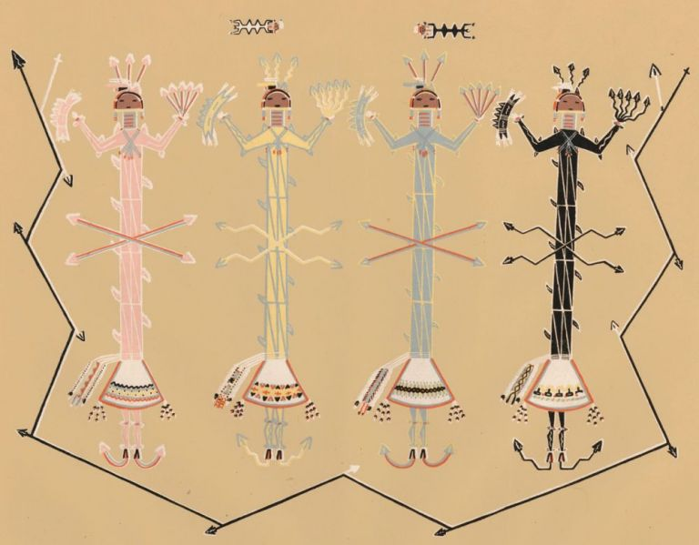Flint-armored gods in attack on Changing Woman. Sandpaintings of the Navajo Shooting Chant. Franc J. Newcomb.