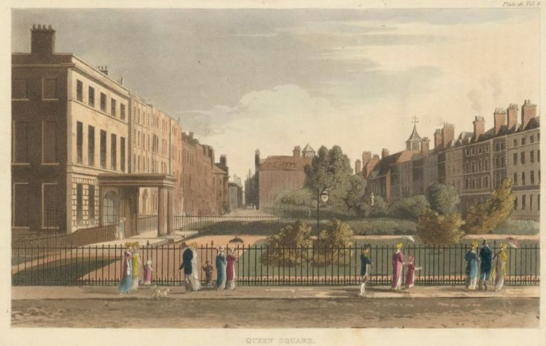 Queen Square. Repository of Arts, Literature, Fashions & c. Rudolph Ackermann.