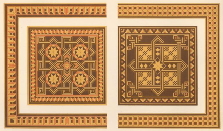 Inlaid Wood of the XVth Century from the Back of Two Chairs. Specimens of Ornamental Art. Lewis Gruner.