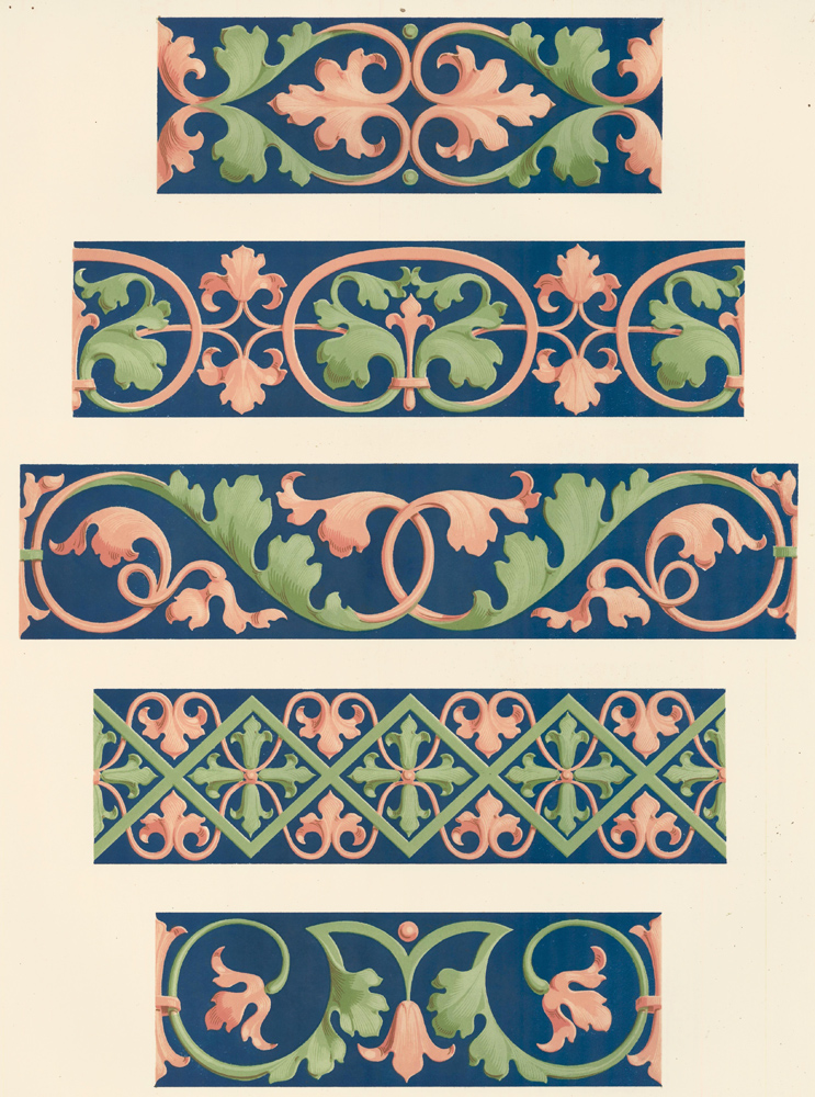 Various Borders from the Church of St. Andrea at Vercelli. Specimens of Ornamental Art. Lewis Gruner.