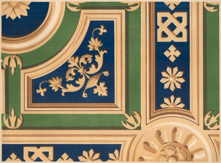 Portion of a Painted Ceiling by Berno Luini. Specimens of Ornamental Art. Lewis Gruner.