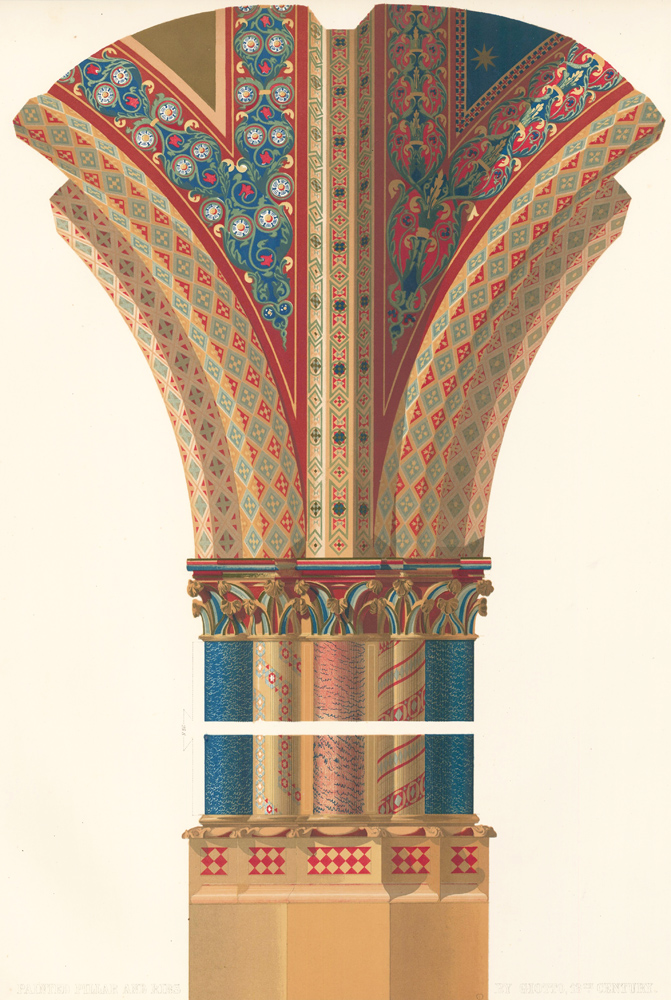 Painted Pillar and Ribs by Giotto. Specimens of Ornamental Art. Lewis Gruner.