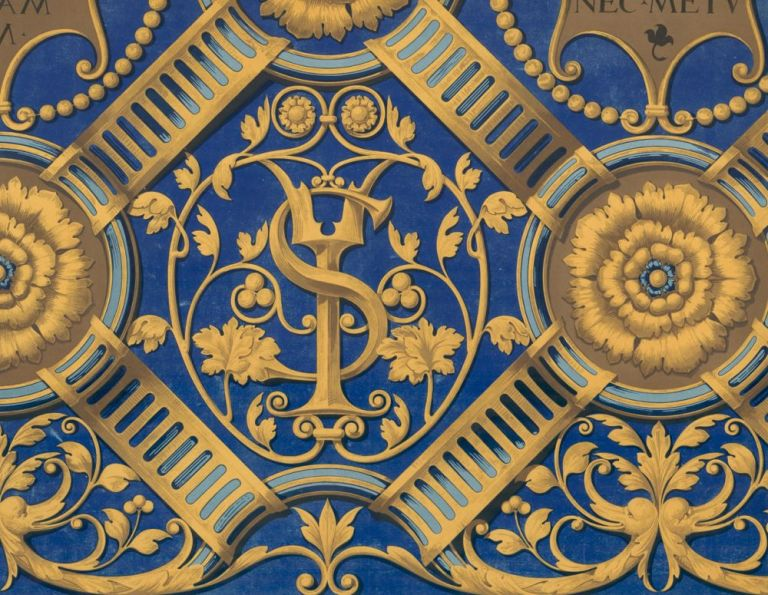 Part of a Carved Ceiling in the Palazzo Vecchio at Mantua. Specimens of Ornamental Art. Lewis Gruner.