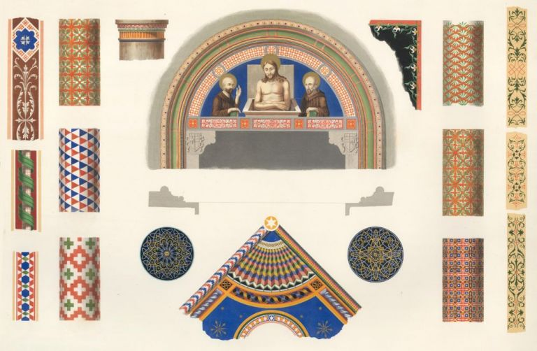 Painted Details from the Church of St. Fransesco at Lodi. Specimens of Ornamental Art. Lewis Gruner.