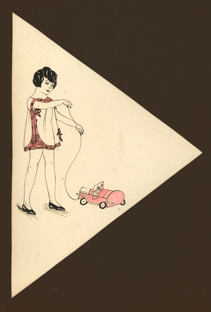 A Girl and her Pink Toy Car. Unknown artist.