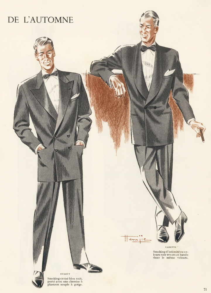 Men's Smoking Jackets Fashion Illustration. Marcel Jacques Hemjic.