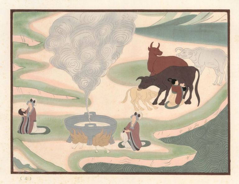 Milking. Cave No. 61, dated to the Sung Dynasty (960-1274). Mural Paintings of Tunhuang. Chinese School.