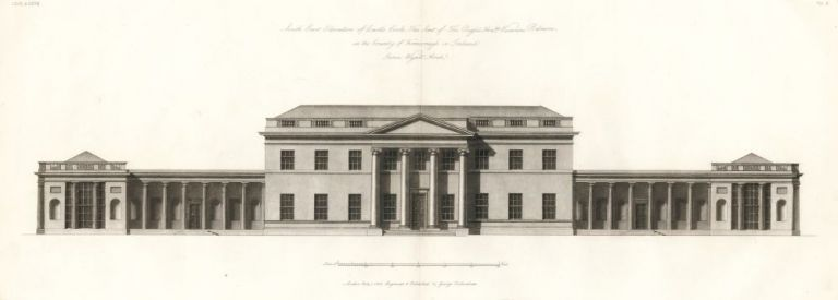 South East Elevation of Castle Coole, in Fermanagh County, Ireland. The New Vitruvius Britannicus; Consisting of Plans and Elevations of Modern Buildings, Public and Private, Erected in Great Britain by the Most Celebrated Architects. George Richardson.