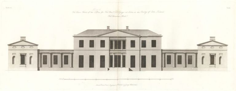 The Lawn Front of the Offices for the Reverend Doctor Synge in the County of Cork, Ireland. The New Vitruvius Britannicus; Consisting of Plans and Elevations of Modern Buildings, Public and Private, Erected in Great Britain by the M. George Richardson.