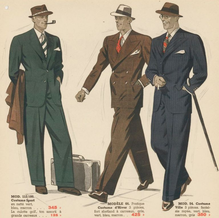 Tweed jacket and vest, coat and trousers in granite, and tuxedo [Men's fashion]. Bayard Fraisse-Vetements. Bayard Fraisse-Vetements, Giraud et Rivaire.