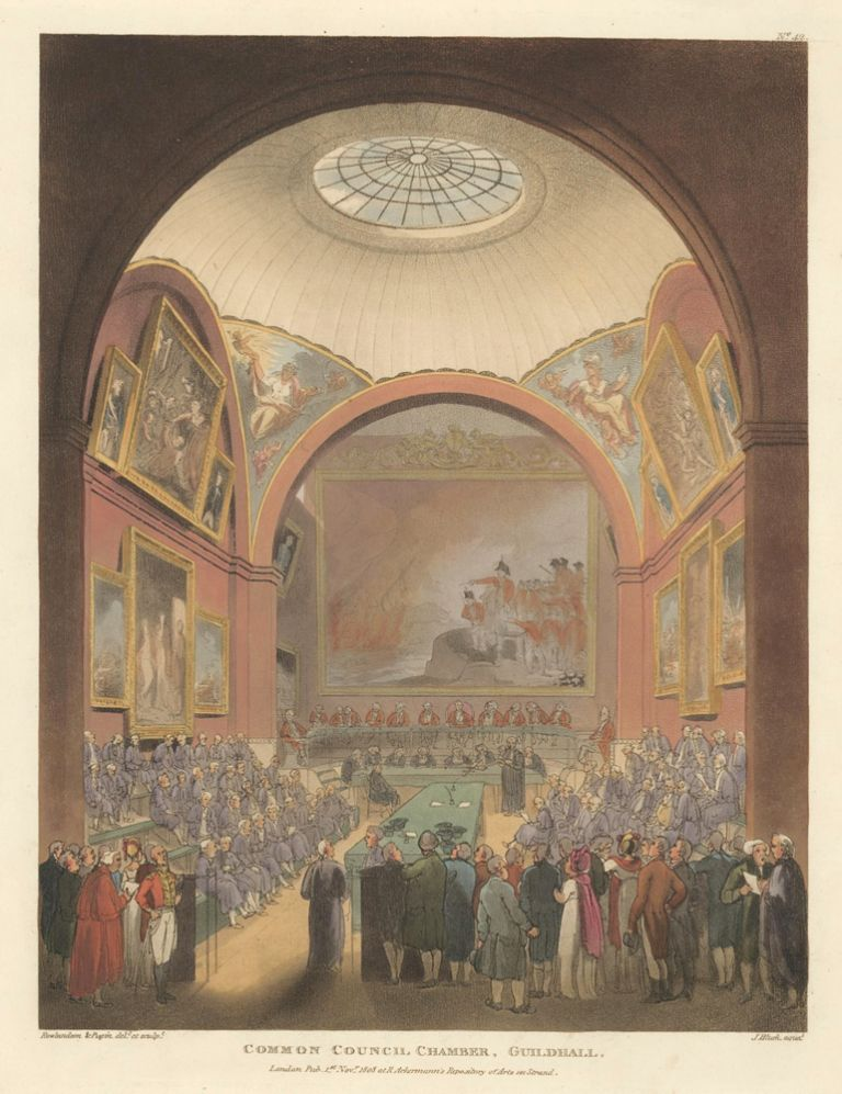 Common Council Chamber, Guildhall. The Microcosm of London. Rudolph Ackermann.