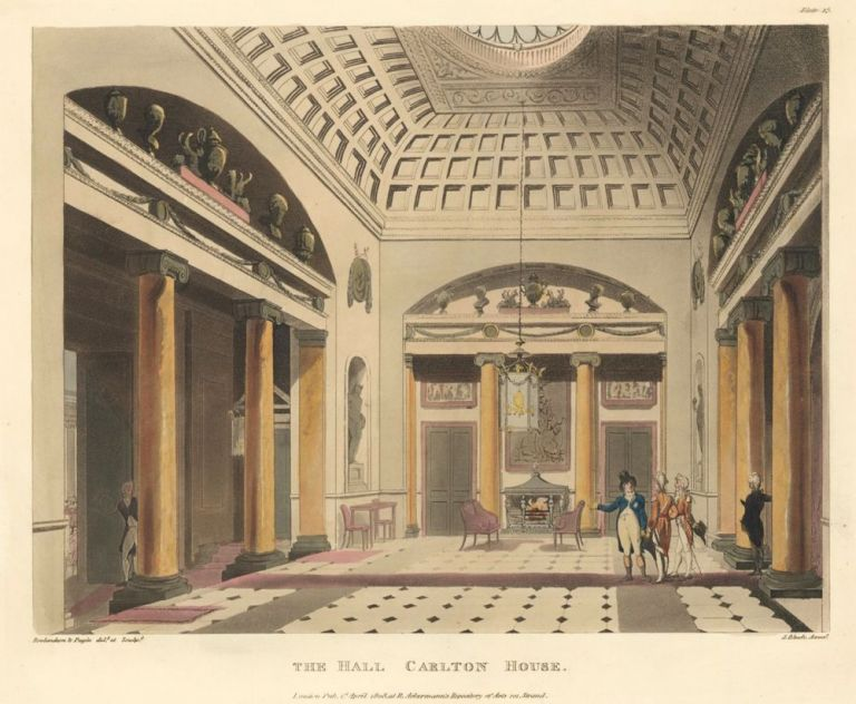 The Hall, Carlton House. The Microcosm of London. Rudolph Ackermann.