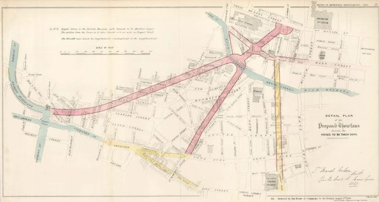 Detail Plan of the Proposed Thorofares Showing the Houses to be Taken Down. Report on Metropolis Improvements. W. Bardwell, J. H. Taylor.