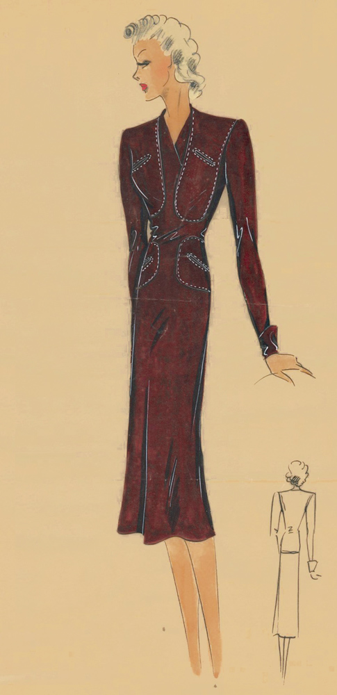 410. Western-inspired ranch dress. Original Fashion Illustration. Ginette de Paris, Ginette Jaccard.