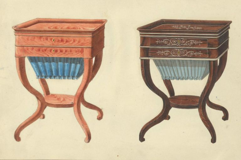Two Sewing Tables. Cabinet-maker's catalog of Charles X furniture. French School.