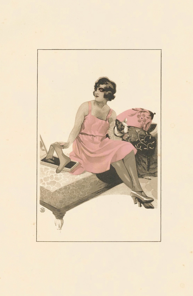 60. Woman in pink with dog. Stockings Advertisement Illustration. German School.