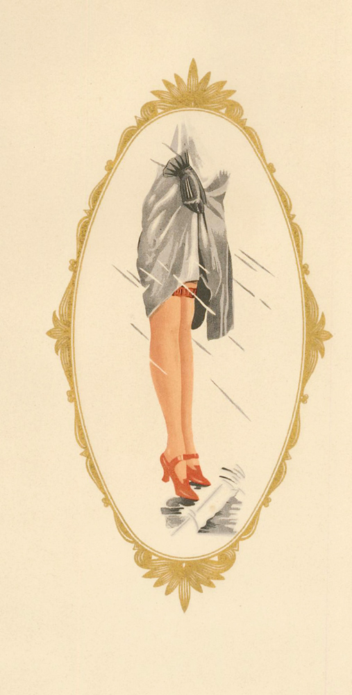 112. Red shoes and stockings in a gold frame. Stockings Advertisement Illustration. German School.