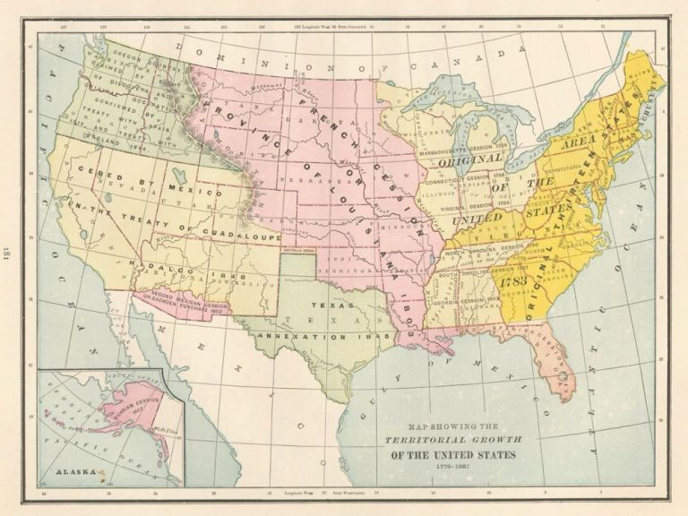 Map showing the Territorial Growth of the United States [1776-1887]. Cram's Unrivaled Atlas of the World. George Franklin Cram.