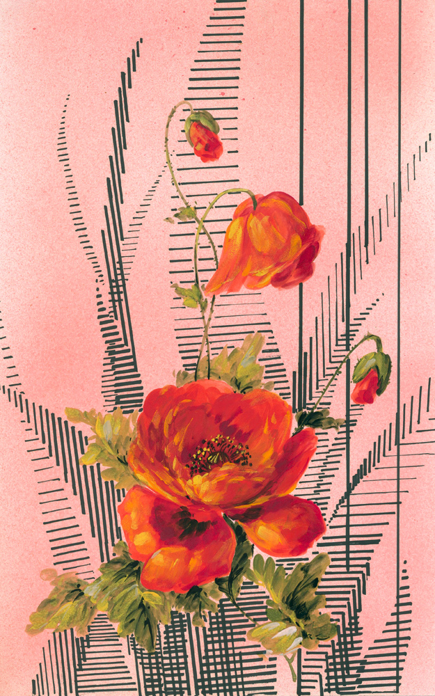 Poppies with abstract greenery. Jacques Laplace.