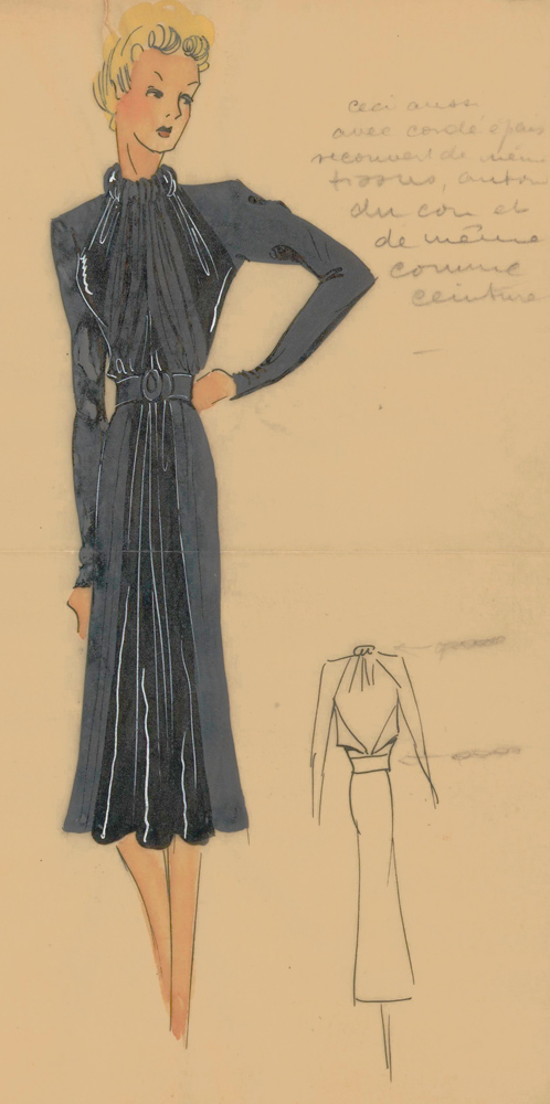Draped halter dress with long sleeves, in grey. Original Fashion Illustration. Ginette de Paris, Ginette Jaccard.