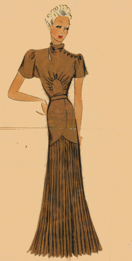 Bronze evening gown with pleated skirt. Original Fashion Illustration. Ginette de Paris, Ginette Jaccard.