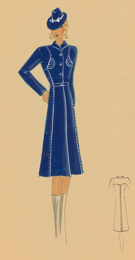 Ultramarine princess coat with white reverse stitching. Original Fashion Illustration. Ginette de Paris, Ginette Jaccard.
