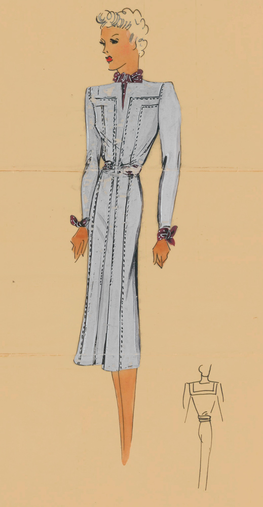 Western-inspired, fitted dress in lavender with burgundy ascot knot and cuff details. Original Fashion Illustration. Ginette de Paris, Ginette Jaccard.
