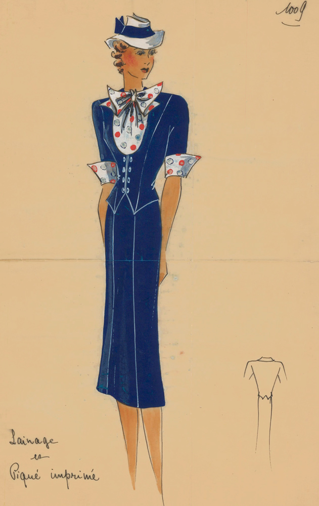 Navy skirt suit with polka-dotted ascot tie. Original Fashion Illustration. Ginette de Paris, Ginette Jaccard.