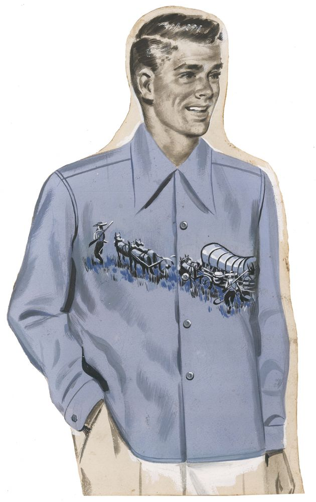 Men's Shirt with Covered Wagon. AJ Fitzsimons.