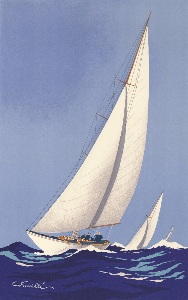 Three Cutters Racing. Georges Fouille.