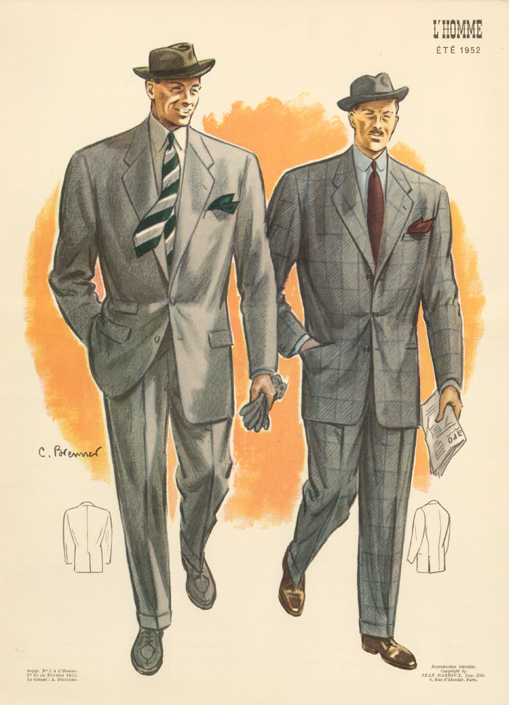 Morning stroll with the newspaper, in grey single-breasted suit jackets for Spring 1952. L'Homme. C. Brenner.