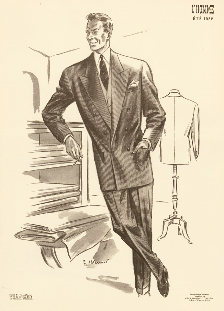 At the tailor, in a pinstripe double-breasted suit for Spring 1952. L'Homme. C. Brenner.