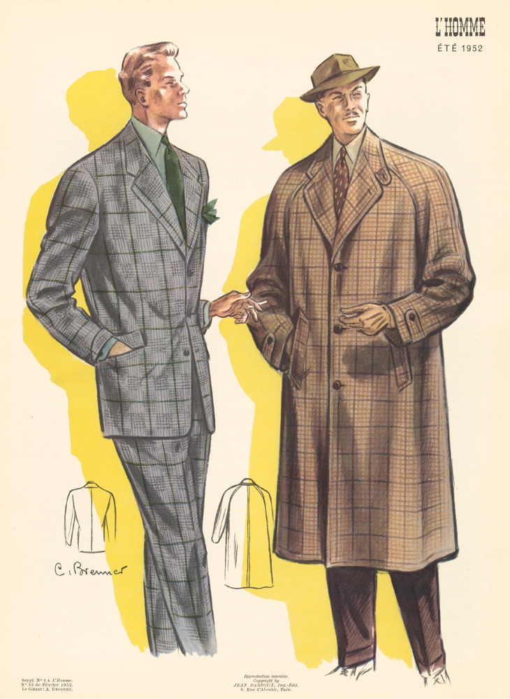Single-breasted jacket and overcoat in varying swatches of tweed, for Spring 1952. L'Homme. C. Brenner.
