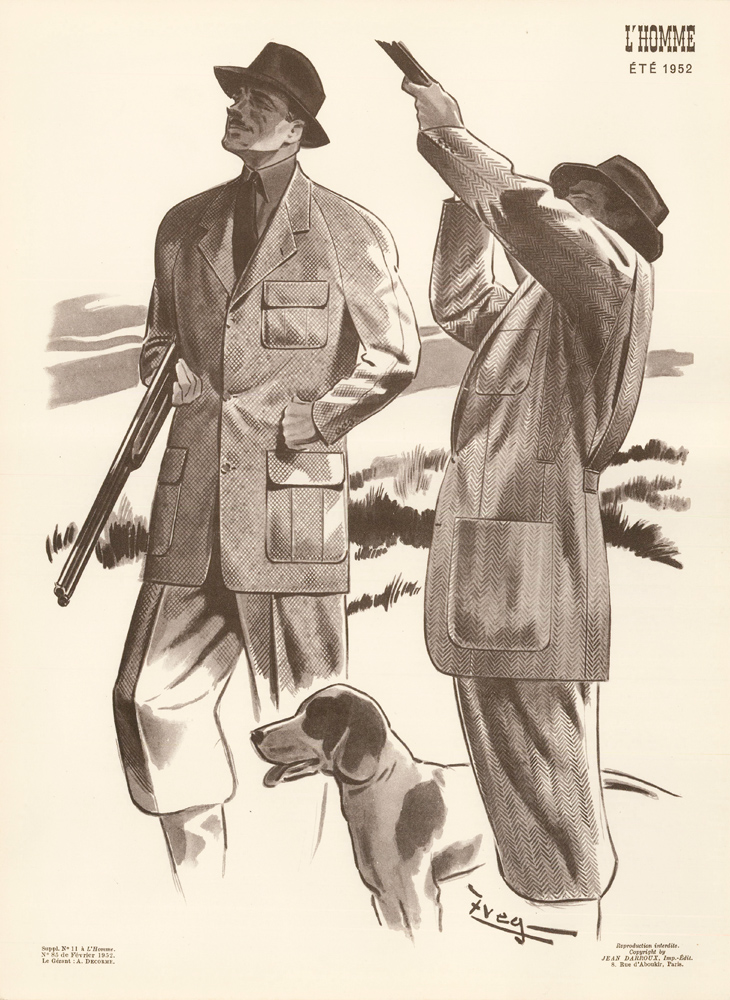 Hunting fashion in tweed, for Spring 1952. L'Homme. Zveg.