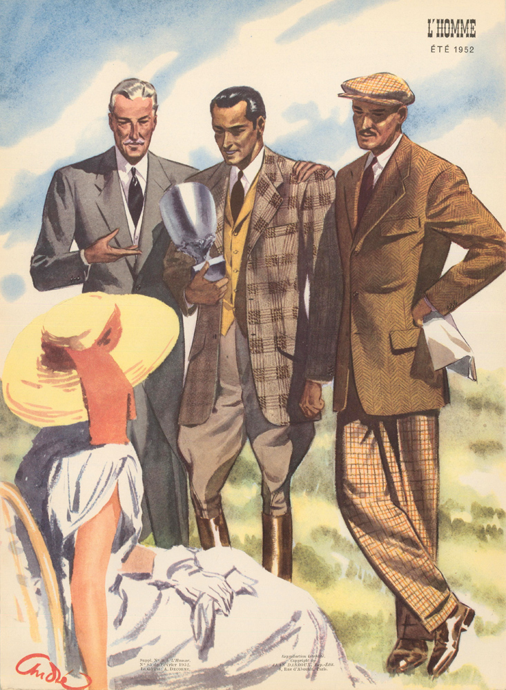 A Day at the Races, suit jackets and slacks for Spring 1952. L'Homme. Andre.