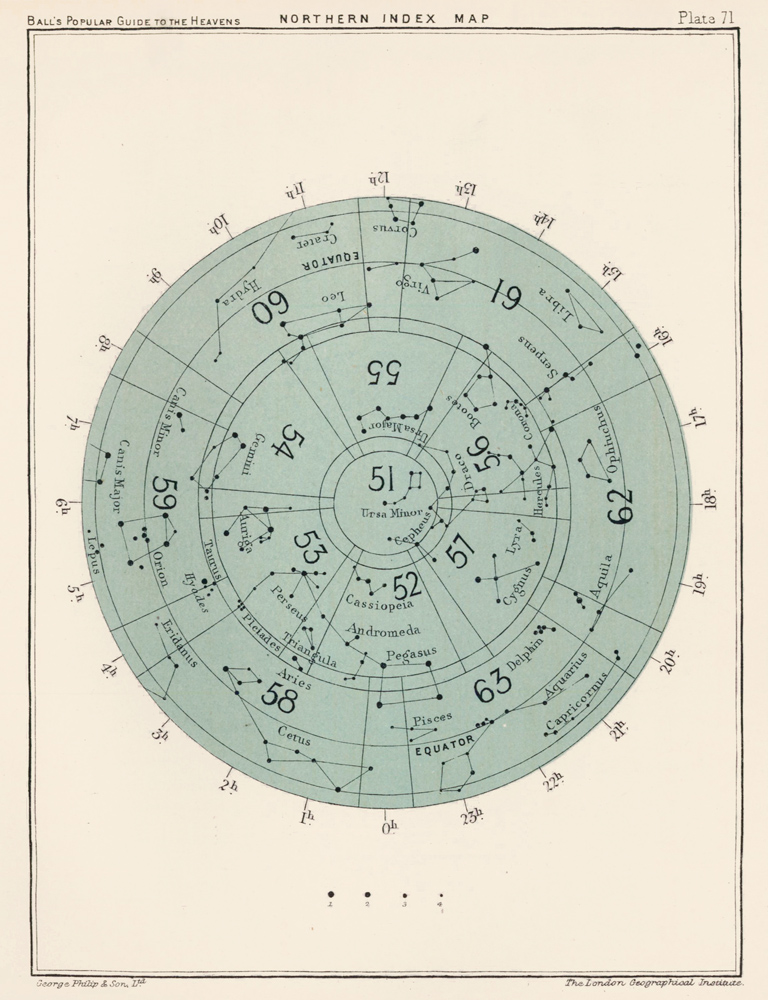 Northern Index Map. A Popular Guide to the Heavens. Robert Stawell Ball.