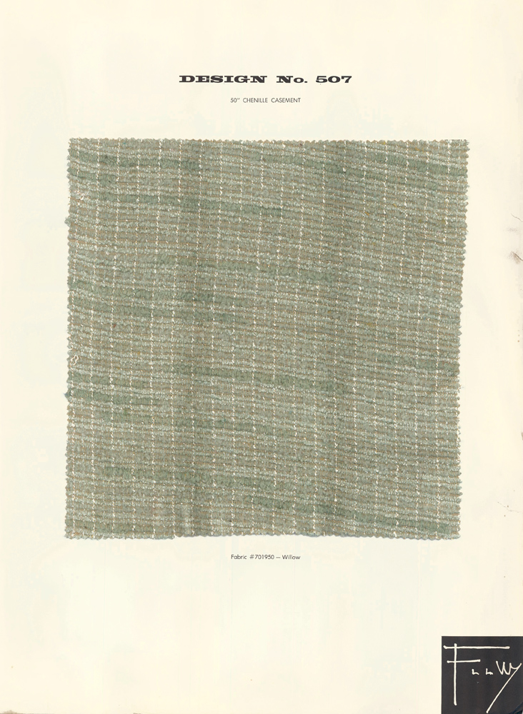 Design No. 507. Schumacher's Taliesin Line of Decorative Fabrics and Wallpapers Designed by Frank Lloyd Wright. Frank Lloyd Wright, F. Schumacher.