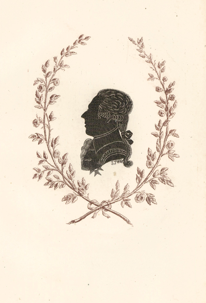 Count Oxenstierna, Senator of Sweden. Collection de Cent Silhouettes des Personnes Illustres et Célèbres. Johann Friedrich Anthing.
