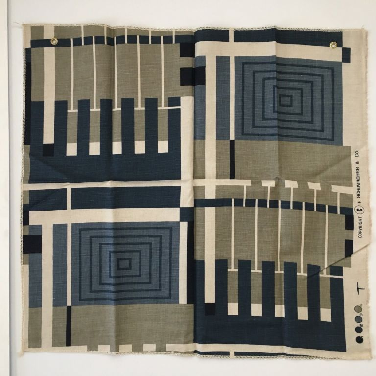 Design No. 102 in Document Blue. Schumacher's Taliesin Line of Decorative Fabrics and Wallpapers Designed by Frank Lloyd Wright. Frank Lloyd Wright, F. Schumacher.