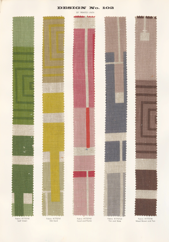 Design No. 102, multicolor. Schumacher's Taliesin Line of Decorative Fabrics and Wallpapers Designed by Frank Lloyd Wright. Frank Lloyd Wright, F. Schumacher.