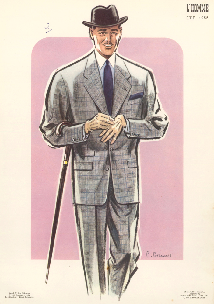 Tweed Suit and Cane. L'Homme. C. Brenner, Jean Darroux.