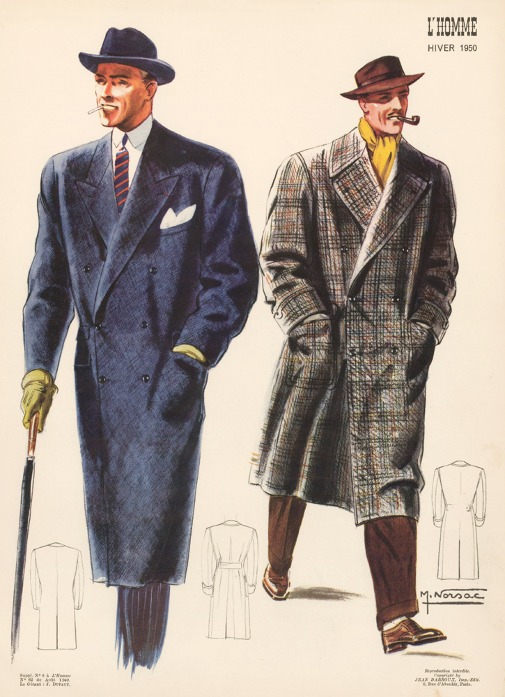 Overcoats, brimmed hats, and bright pops of color. L'Homme. M. Norsac, Jean Darroux.