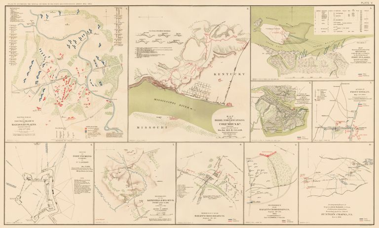Columbus, Fort Pulaski, Shenandoah Valley, Fort Pickens, Bailey's Cross-Roads, Hunter's Chapel to Fairfax Court-House, and Bull Run Campaign. Atlas to Accompany the Official Records of the Union and Confederate Armies. The United States War Department.