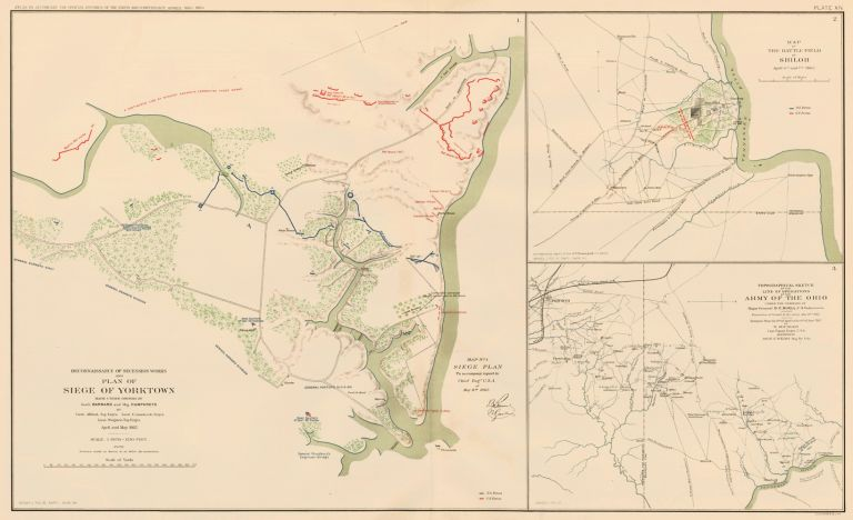 Yorktown, Shiloh or Pittsburg Landing, and Corinth. Atlas to Accompany the Official Records of the Union and Confederate Armies. The United States War Department.