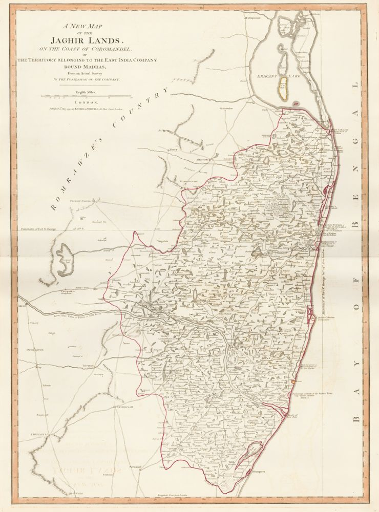 54. Jaghir Lands of the Coast of Coromandel. A New Universal Atlas. Thomas Kitchin.
