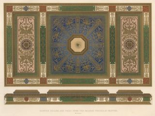 Painted Ceiling and Frieze from the Palazzo Vecchio. Specimens of Ornamental Art. Lewis Gruner,...