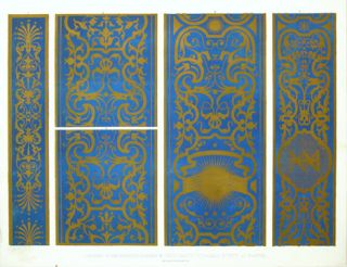 Portions of the Painted Pilasters in the Gabinetto d'Isabella. Specimens of Ornamental Art.