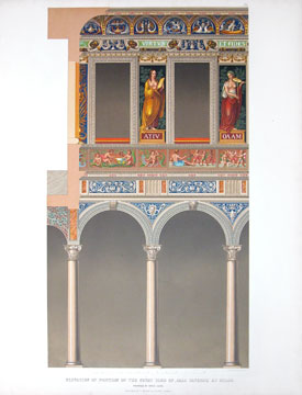 Elevation of Portion of the Courtyard of Casa Taverna at Milan. Specimens of Ornamental Art.